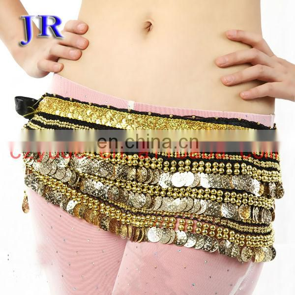 Y-2003 Egyptian velvet fabric gold coins belly dance hip scarf