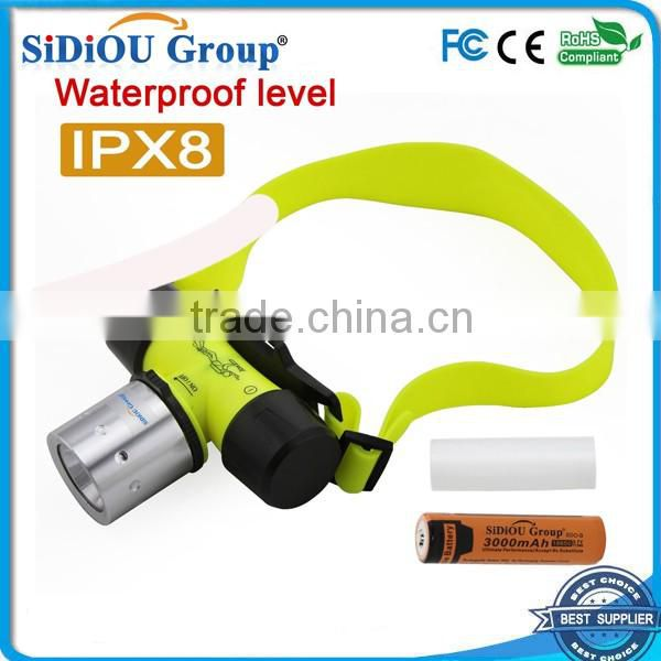 Sidiou Group 3 Mode 1800Lm T6 LED Diving Headlamp AAA/18650 Swimming Headlight Lights Waterproof Torch Lamps
