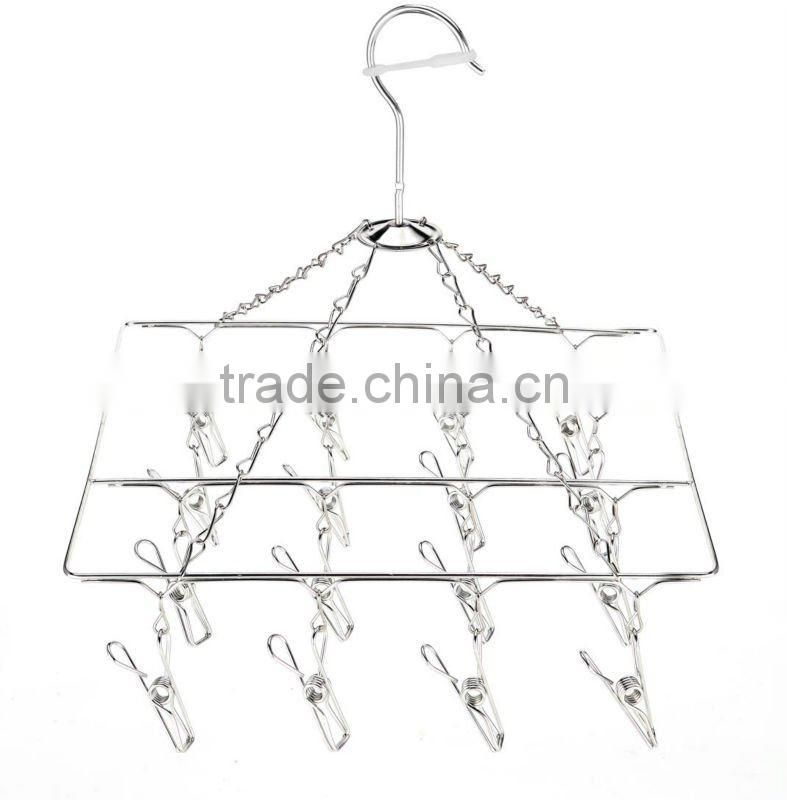 Stainless steel clothes hanger Clothes hanger;Laudry clips hanger;stainless steel clips hanger clothes hanger with 18 pegs