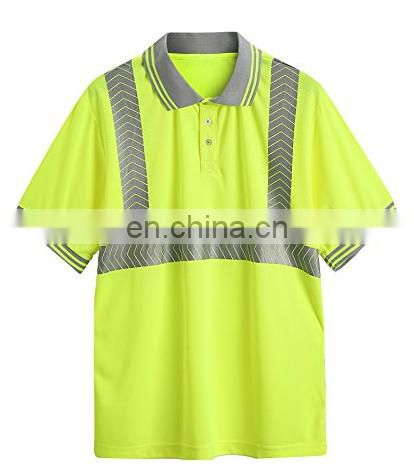 Hi vis garment Reflective work safety short sleeve polo t shirt