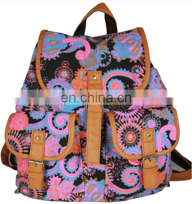 Wholesale unisex canvas sports travelling backpack bag
