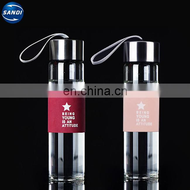 Promotional custom LOGO printed sports glass water bottle