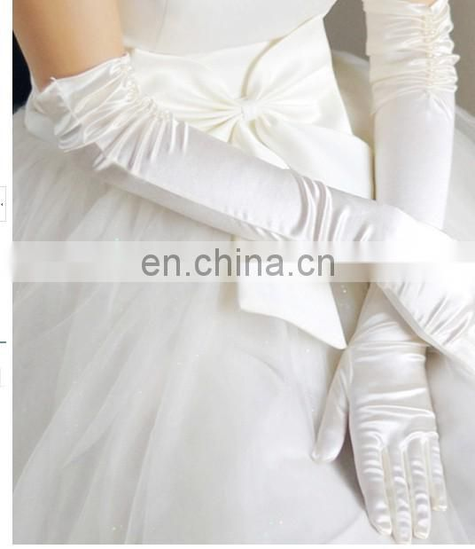 2014 Fashion Elegant Ruffles With white Pearl Beads Evening satin wedding Gloves,Wholesale Satin long Bridal Gloves