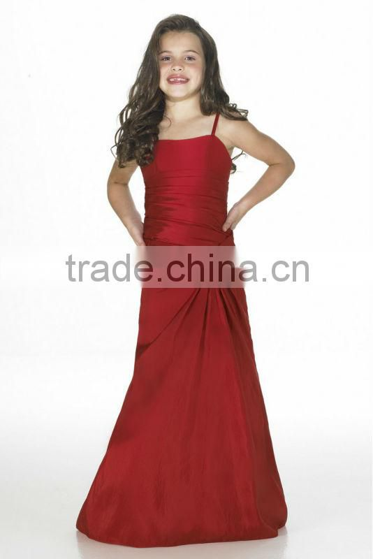 Hot sale ruched custom-made taffeta red junior bridesmaid dress CWFab5390