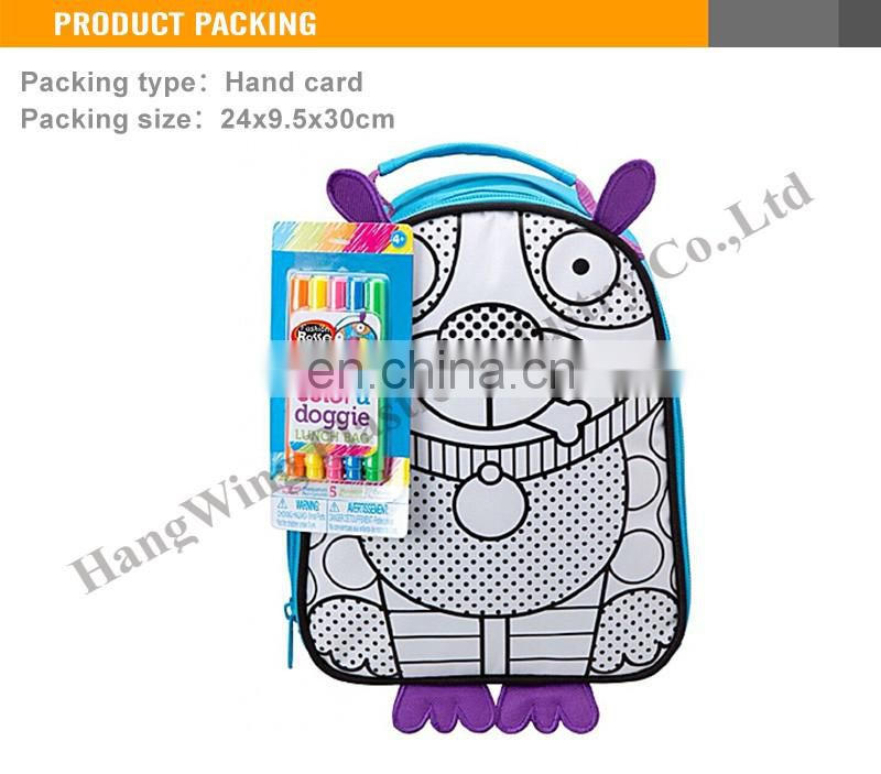 DIY Toy Intelligence packsack with water color pen children schoolbag