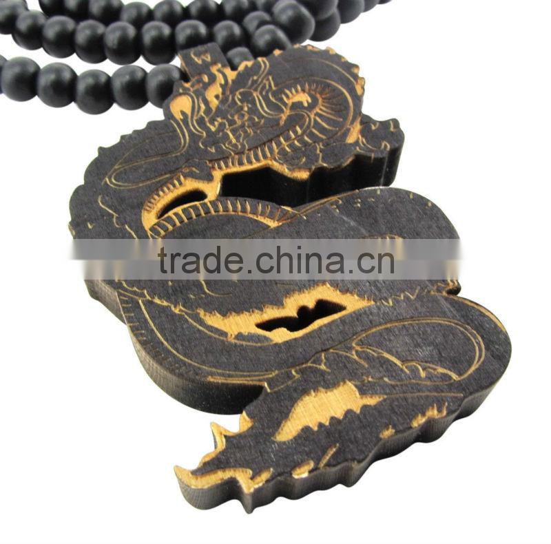 Wooden fire dragon pendant piece w 36'' chain necklace good wood fantasty magic