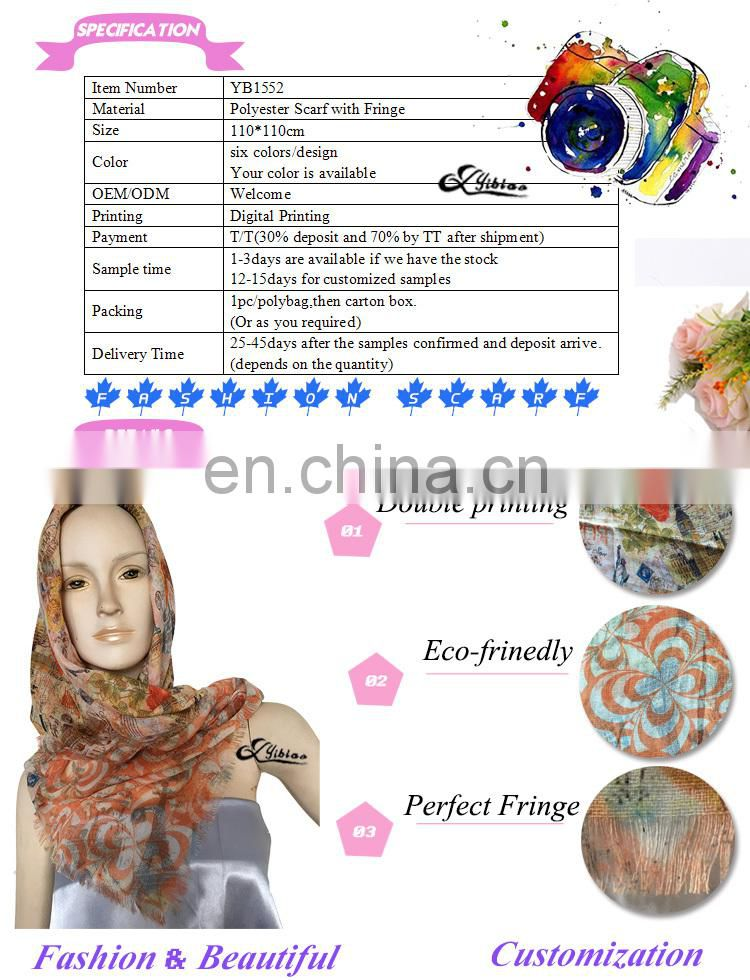2017 European fashion paper printing digital printing polyester scarf factory hot sell Malaysia hijab