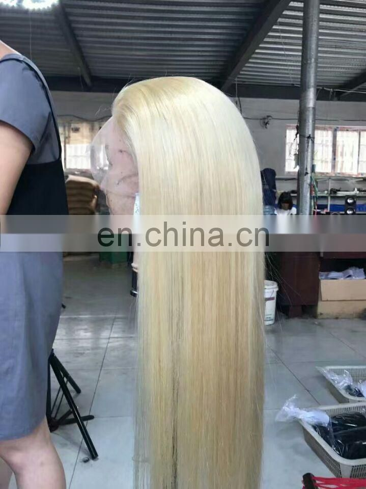 Glueless full lace wig with baby hair 613# full lace wig