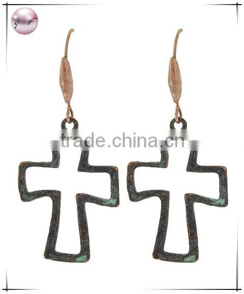 Burnished Gold Tone Metal Fish Hook Religious Cross Dangle Earring Set