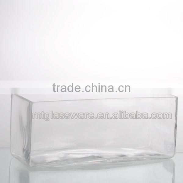 25cm/20cm length clear hande made home decor sqnare vase