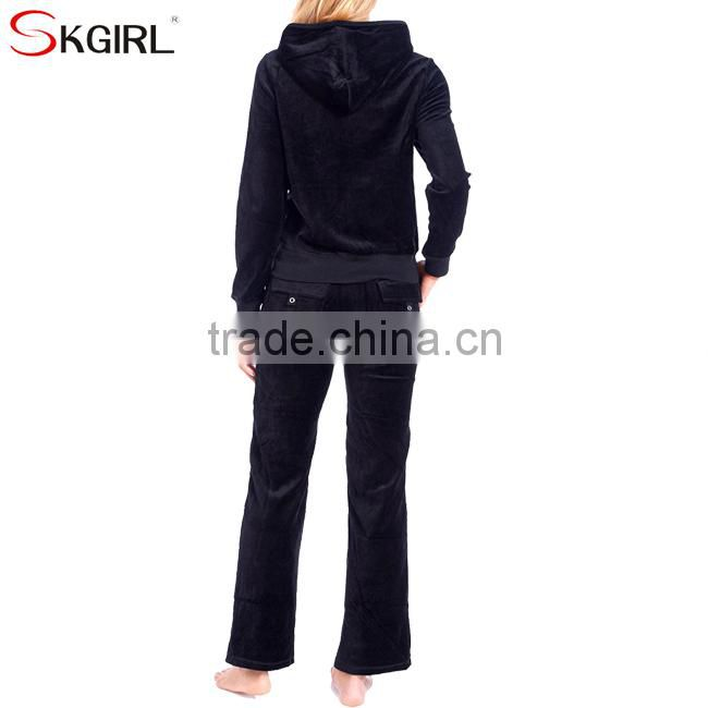 Women's winter plus size zip up hooded jogging hoodie sportwear soft 2 piece velour tracksuit set for ladies