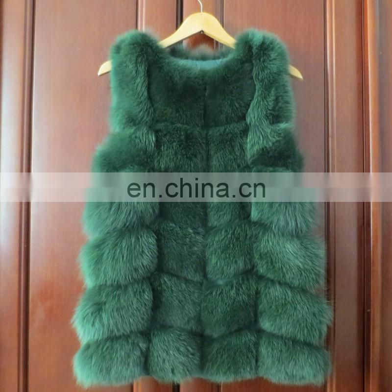 Solid color genuine fox fur sleeve/vest/waistcoat for lady women winter