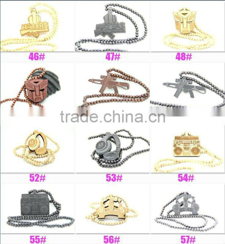"Good Quality Hip-Hop eye Pendants Wood Rosary Bead Necklaces 28"" 1pcs"