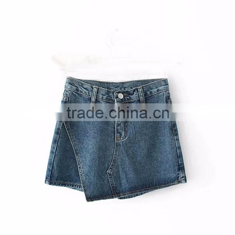 OEM girls fashion women skinny irregular cutting hem denim jeans short mini skirts