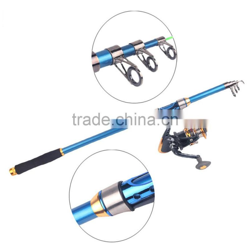 2.4M 7.87FT Telescopic Fishing Rod Tackle Travel Spinning Fishing Pole