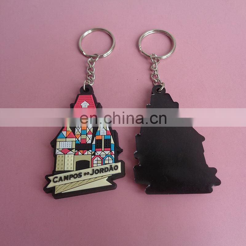Custom 2D black and white color EOIE company logo company prommotional giveaway pvc rubber keychain