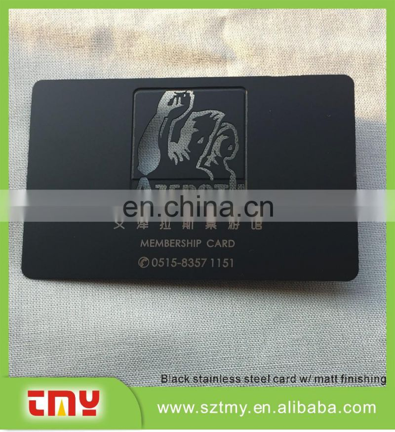 Customized creative black stainless steel metal business cards/ name cards / member cards