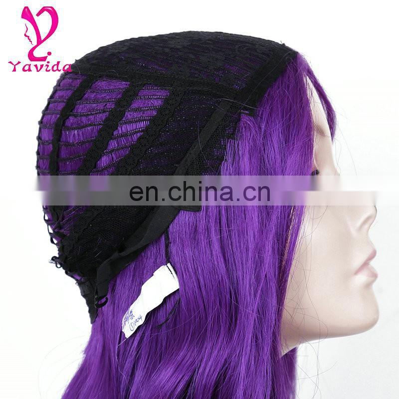 Wholesale Cheap Heat Resistant Fiber Hair Long Natural wavy Side Bangs purple color Synthetic Machine Made Wig for White Women