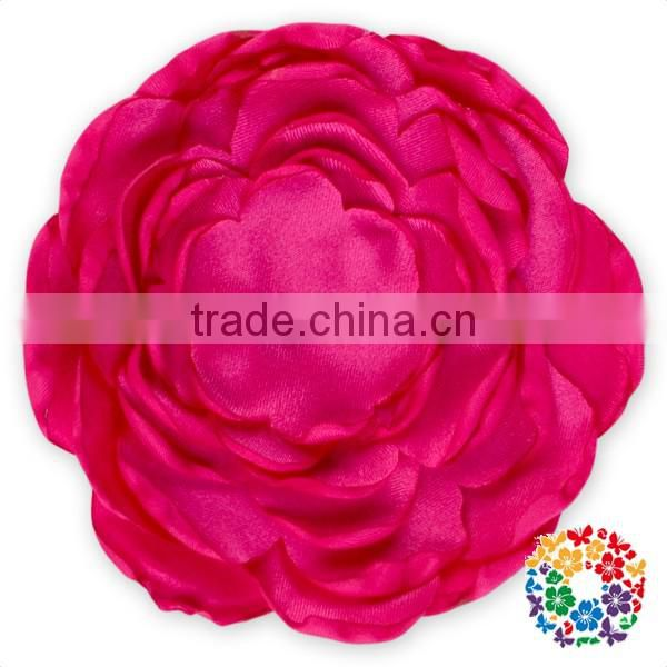 Colorful Satin Poppy Layered Flower Fabric Handmade Flowers For Baby Girl Hair Accessories