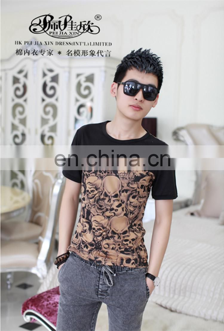 2017 Peijiaxin Fashion Casual Style with Skull Montage Designs China T shirt Manufacturing