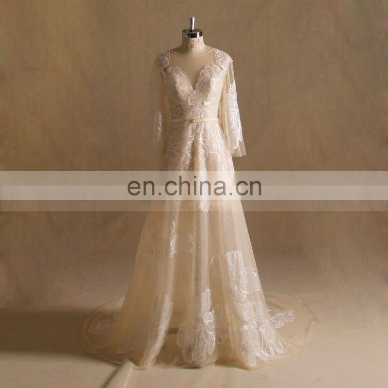 Elegant A-line Long Sleeves Boho Lace Wedding Dress With Chapel Train