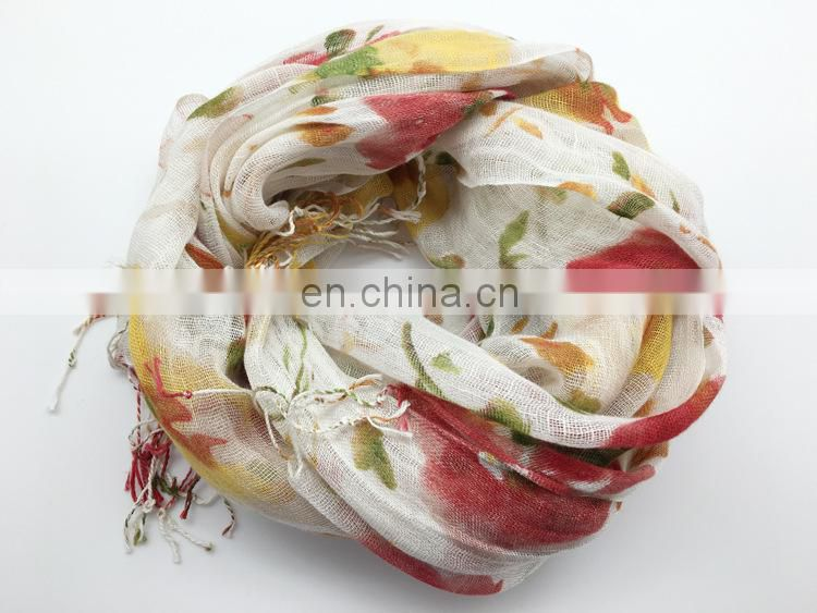 linen100% scarf fresh comfortable natural scarf good quality printing scarf have 3color