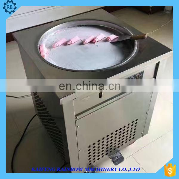 Manual Single Frying roll ice cream machine with2/4/6/8 fruit containers/industrial flat pan fried yogurt