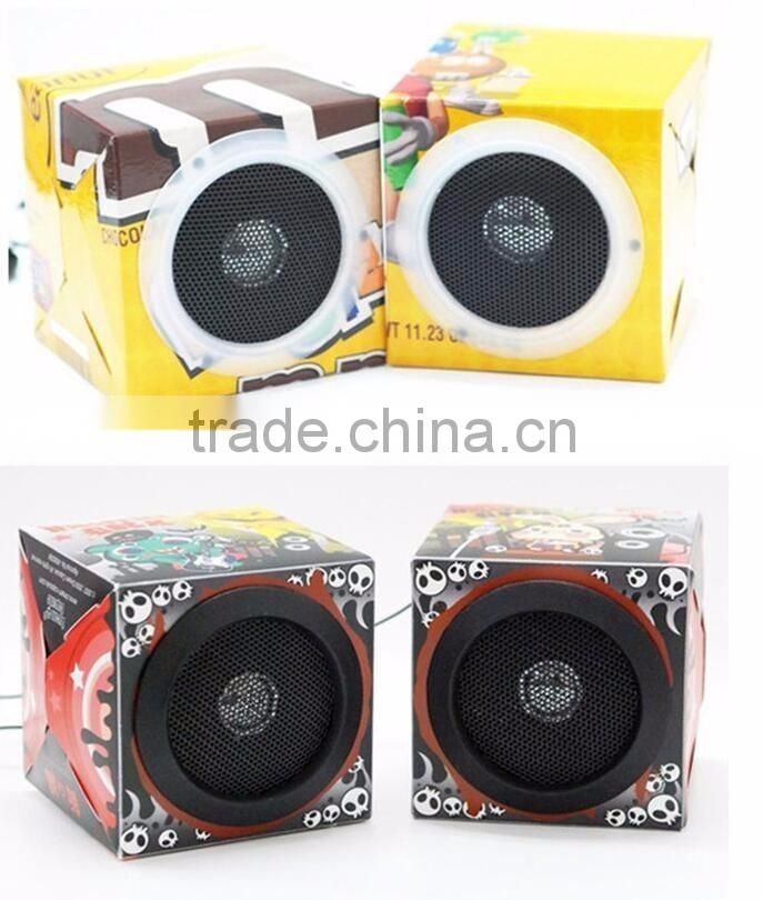 New design Custom full logo printing foldable cardboard mini speaker for promotion gift