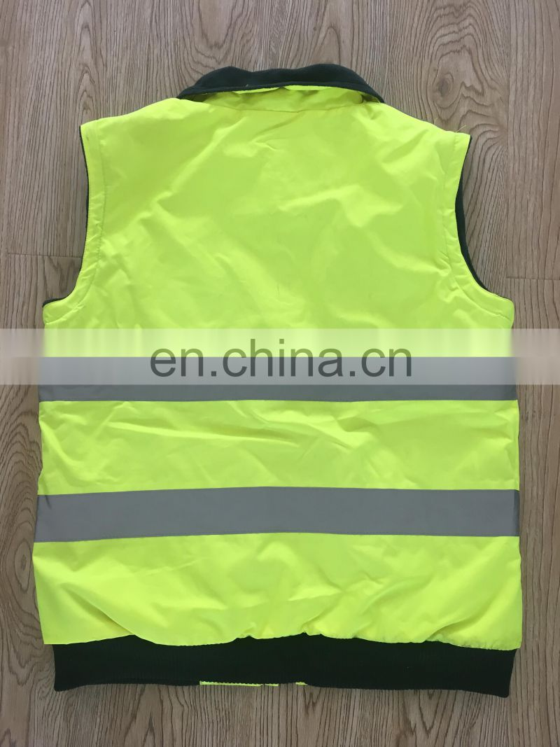 300D oxford fabric anti-pilling detachable reflective safety jacket