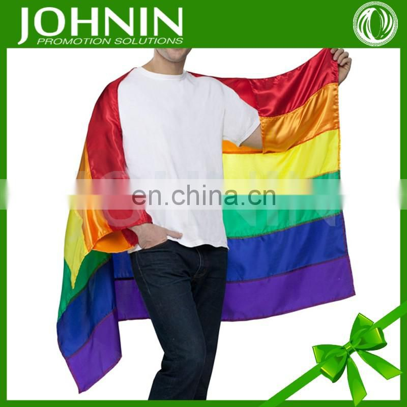 polyester gay pride printed 80x120cm OEM size flag rainbow cape