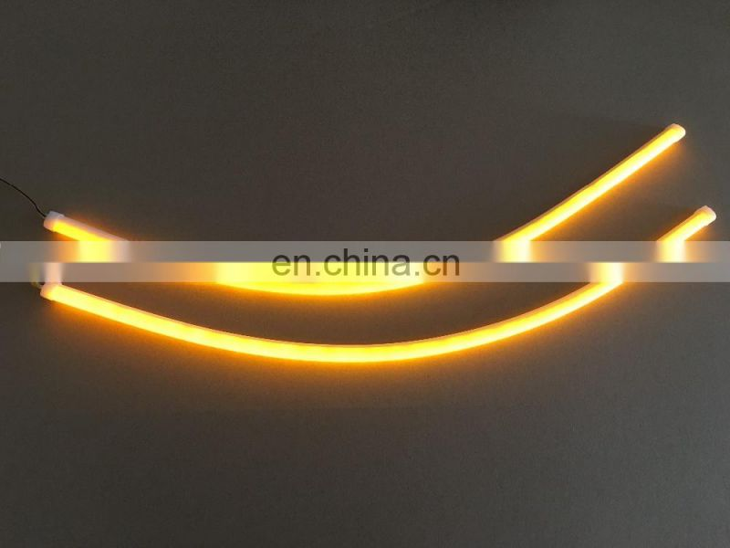universal 2x60cm car led flexible DRL with running turn signal car headlight flow turn light
