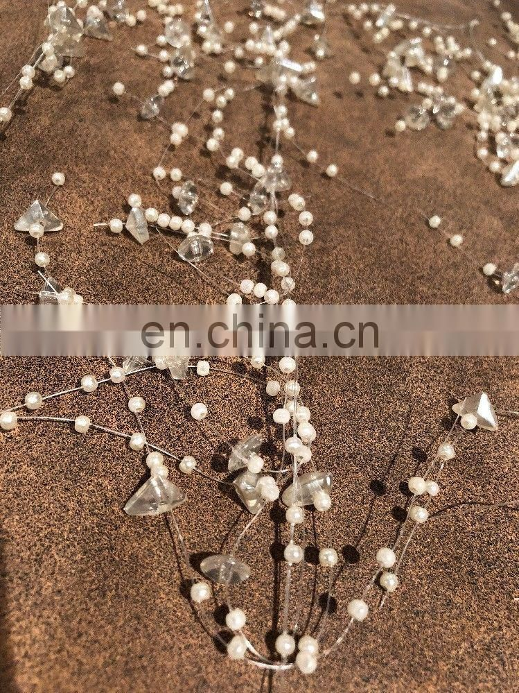 Cream Acrylic Bead & Pearl Garland For Wedding Reception Vase Candle Crafts