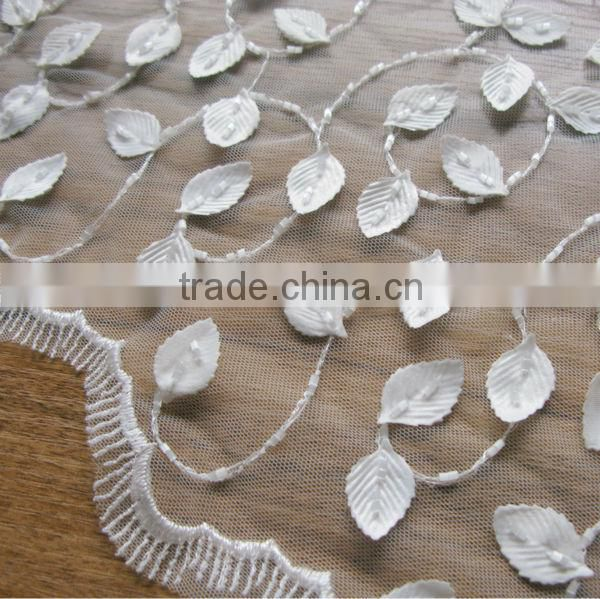 Fancy Craft Flower Fabric, Leaf Beaded Flower Lace Fabric