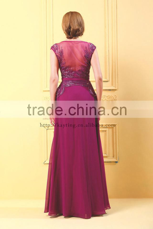 New Arrival Charming Design Cap Sleeve Sexy Transparent Back Applique Sequins Beautiful Mother Of The Bride Dress