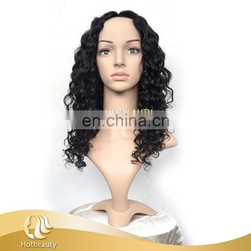 100% Virgin Human Peruvian Hair Deep Wave u Part Wig For Young Women