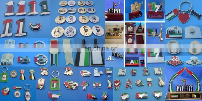 round shape customized UAE falcon image promotional gifts metal badge pin for 46th UAE national day