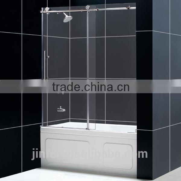 Stainless Steel Sliding Shower Glass Door Single Roller