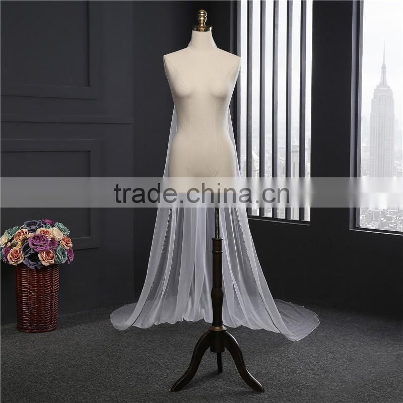 2017 hot sale tulle applique train lace cathedral wedding bridal veils Fashionable long Tulle beaded Wedding Bridal Veils