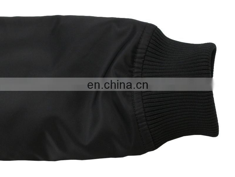 fd91f01bf Custom Nylon Plain Black Flight bomber jacket mens with patches of ...