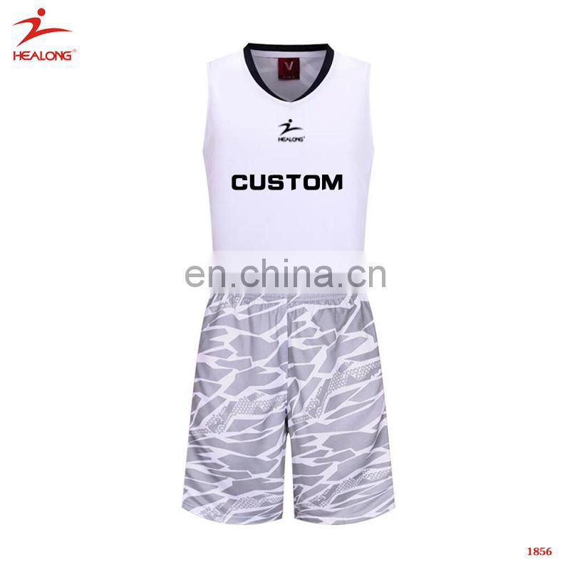 9db55a1a6 ... Sublimated Printing Healong White Basketball Uniforms Fashionable  Customized Men S Basketball Jerseys ...