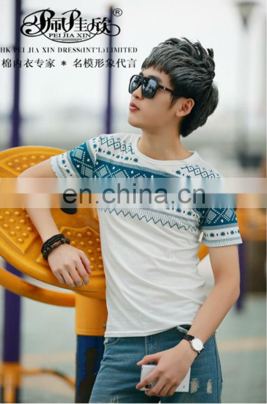 Peijiaxin Fashion Design Casual Style With Bule Flowers Printing Boys T shirt