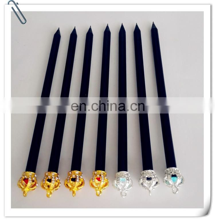 hot sale high quality black wood pencil with metal crown on top