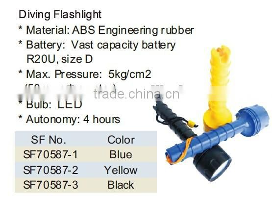 ABS Engineering Rubber Floating LED Diving Flashlight underwater / Diving Powerful led Flashlight Waterproof