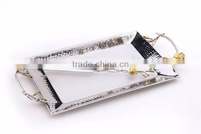 rope design metal golden tray