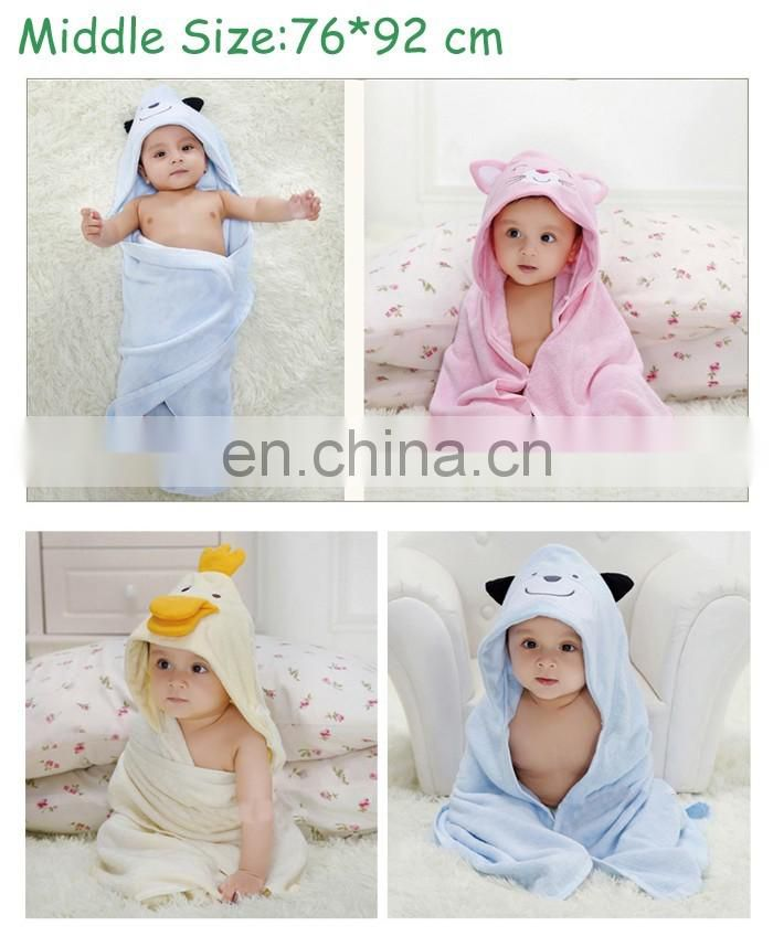 wholesale multi-use cartoon animal kids baby hooded bath towel