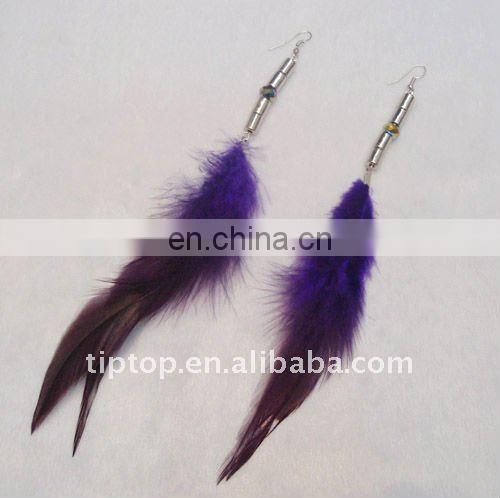 fashion cute long blue feather dangle earring