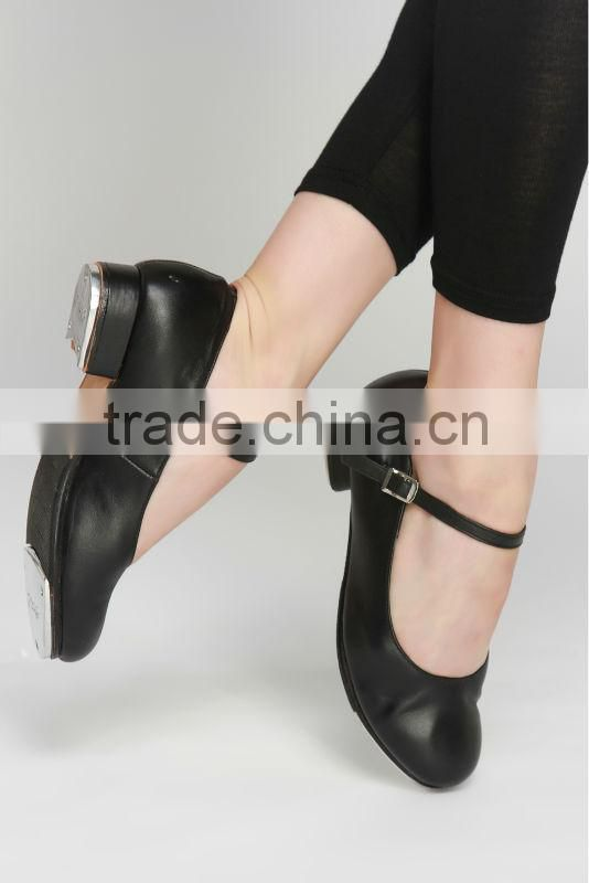 Women shoes heel black and tan genuine cow leather shoe tap shoes wholesale D004727