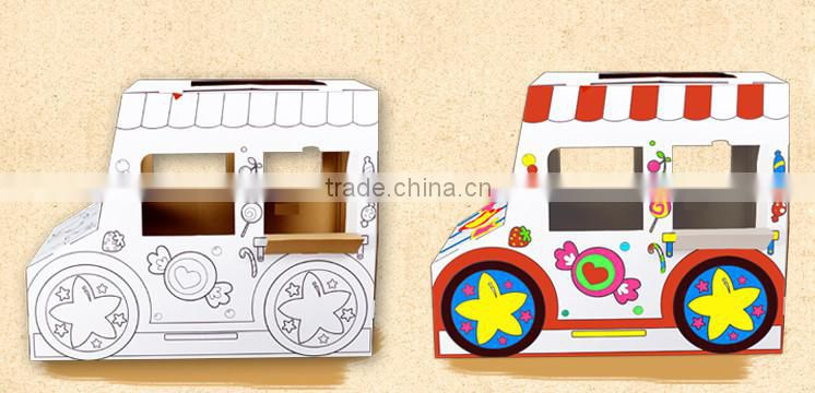 China Factory Munfacture Wholesale Corrugated Paper Foldable Kids Playhouse Car shape For Sales