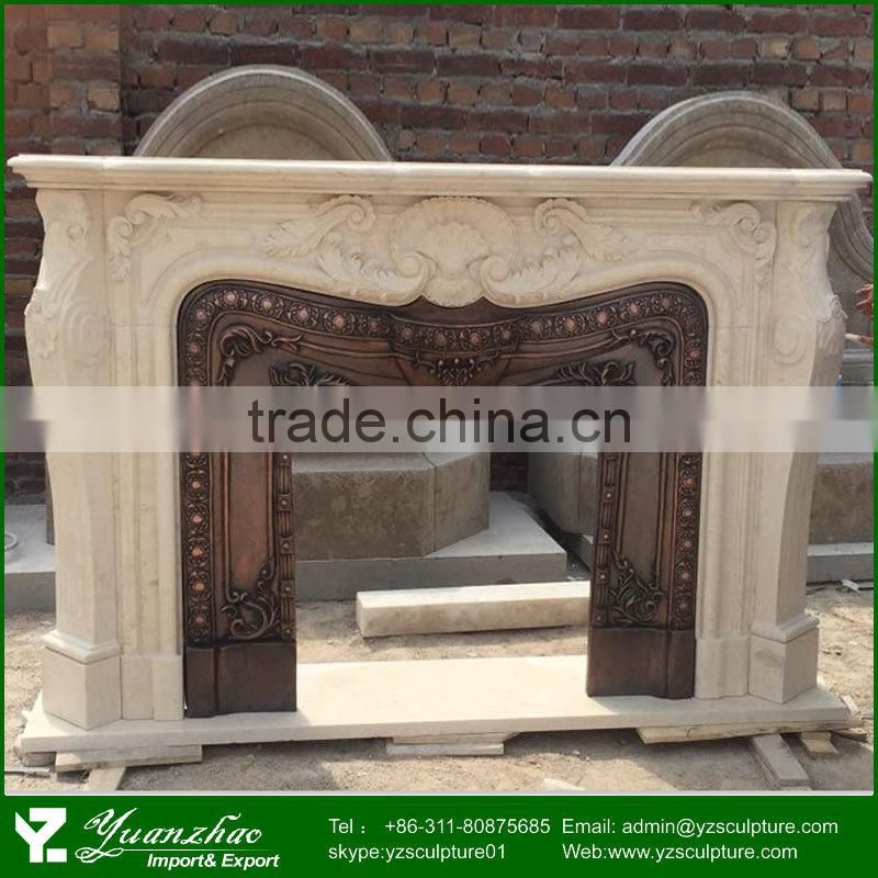 Antique Outdoor Classic White Marble Fireplace Mantel