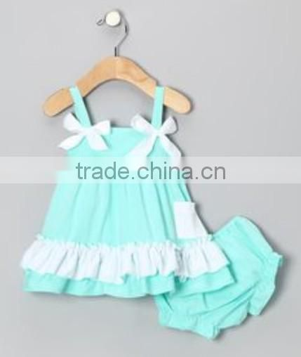 Wholesale Sweet Baby Girl Chevron Ruffled Swing Top w Pocket And Bloomer Cotton 2pcs Girl Chevron Swimming Outfits Sets Clothing